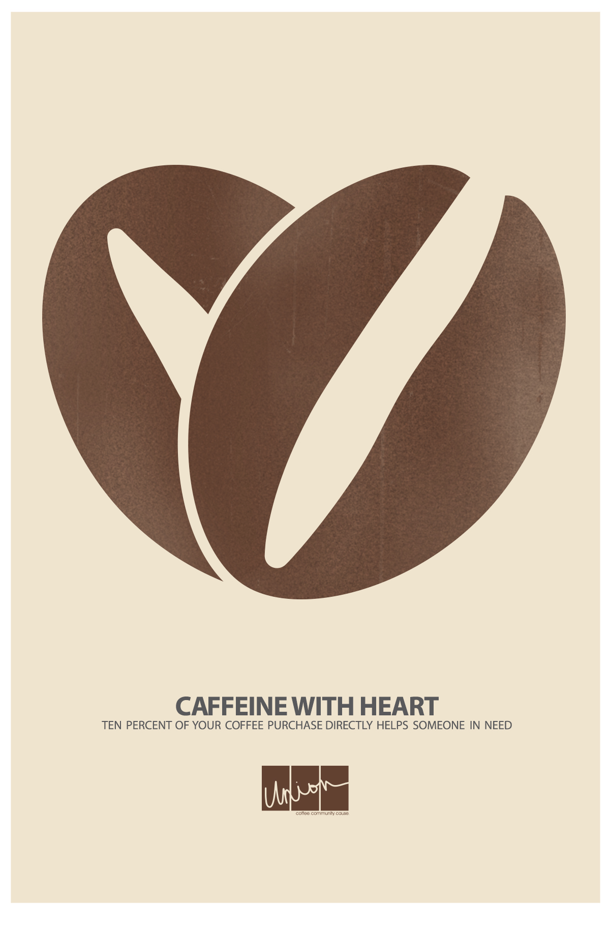 Union Coffee Poster for Child Literacy - Caffeine With Heart by Tidal Wave Marketing