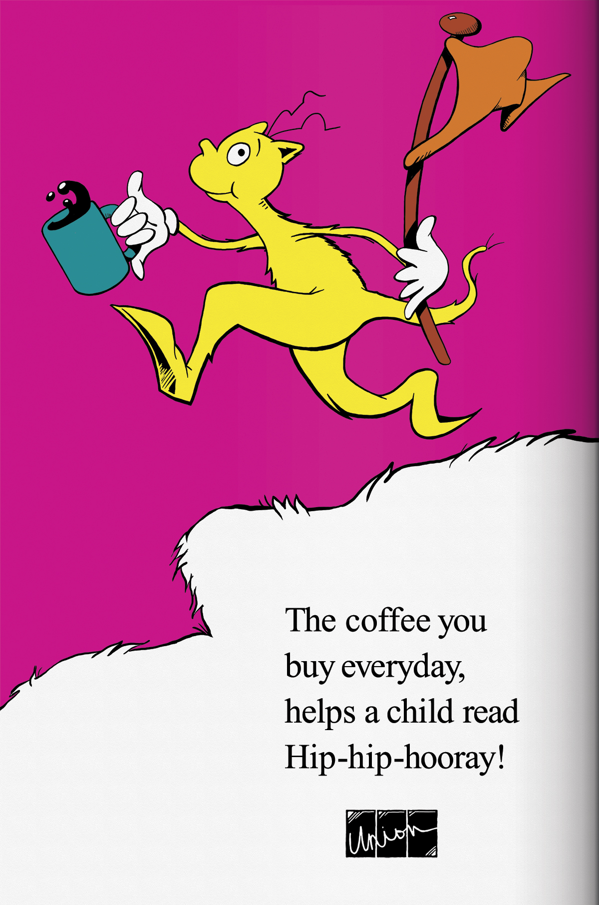 "Union Coffee Poster for Child Literacy - Dr. Seuss ""Flag"" by Tidal Wave Marketing"