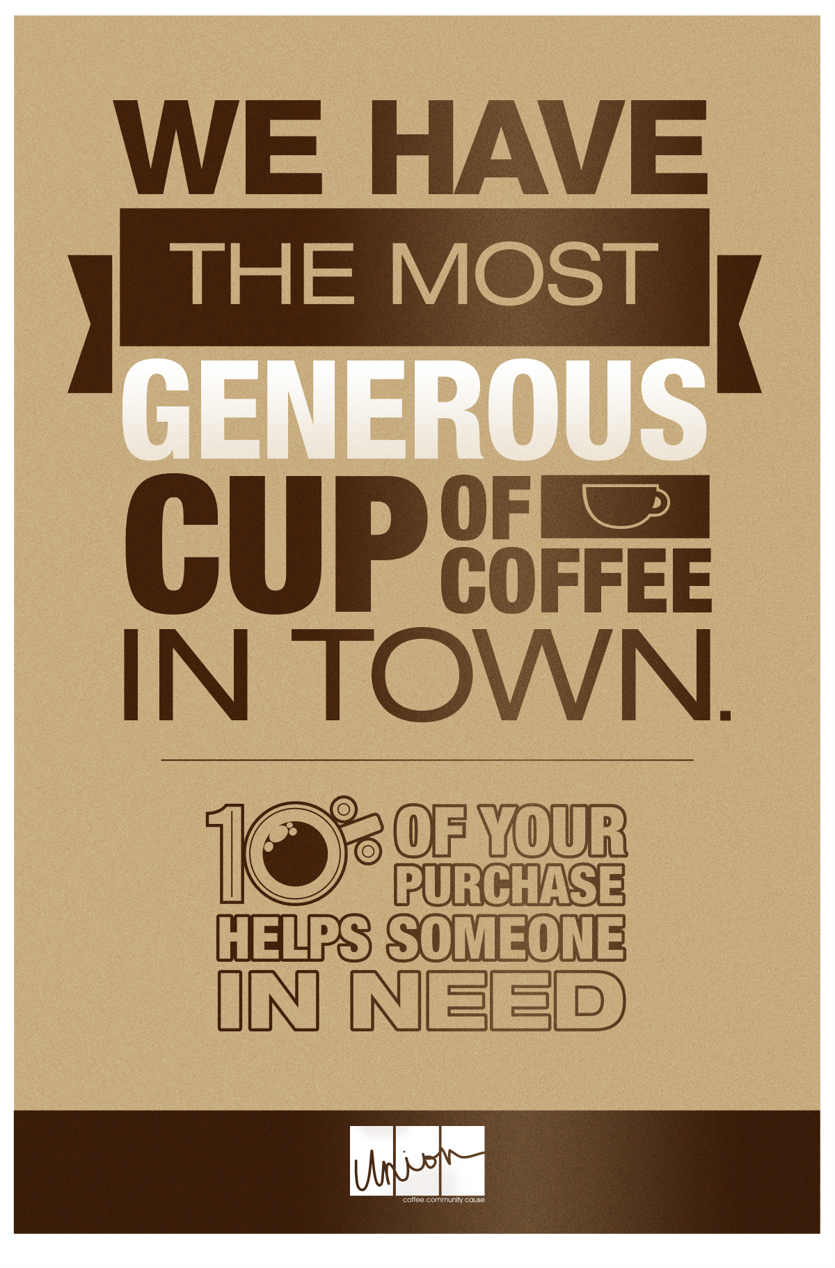 Union Coffee Poster for Child Literacy - Generous Cup by Tidal Wave Marketing